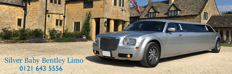 Silver Baby Bentley Limo hire
